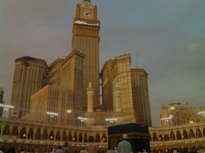 The Holy Ka'bah with zam-zam tower as a background